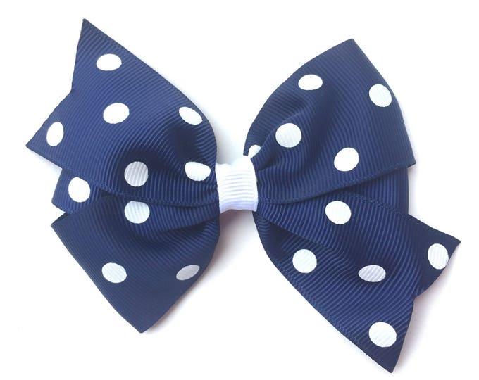 Navy blue hair bow - hair bows, bows for girls, toddler hair bows, pigtail bows, baby bows, 4 inch hair bows