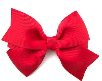 Red hair bow - hair bows, bows, hair clips, hair bows for girls, baby bows, toddler bows, girls bows, girls hair bows, big hair bows