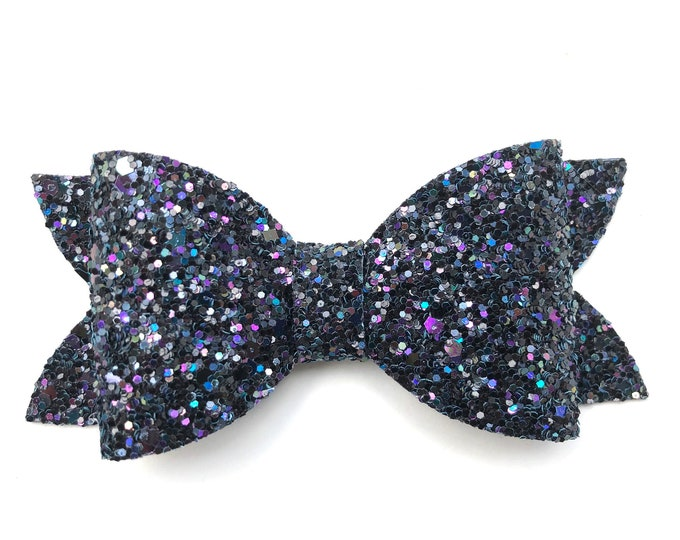 Black glitter hair bow - hair bows, bows for girls, toddler hair bows, 4 inch hair bows