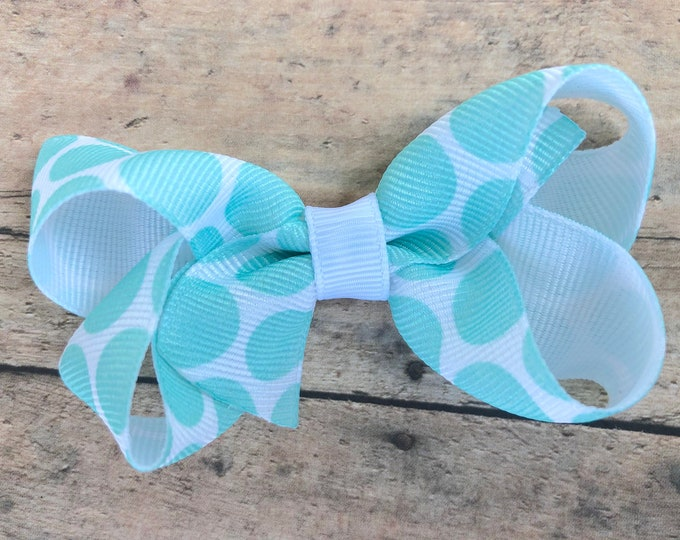 Aqua blue polka dot hair bow - toddler hair bows, hair bows for girls, 3 inch hair bows, baby bows, pigtail bows