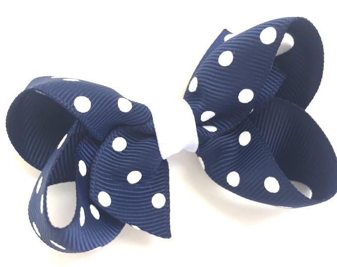 Navy blue hair bow - hair bows, bows, hair bows for girls, baby bows, toddler bows, girls bows, pigtail bows, hairbows, hair clips, navy bow