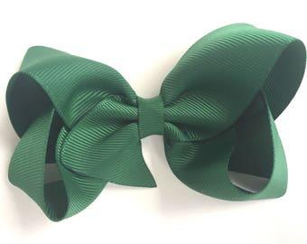 Dark green hair bow - hair bows, bows, hair clips, hair bows for girls, baby bows, hairbows, girls bows, toddler bows, boutique bows