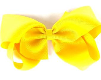 Extra large yellow hair bow - 6 inch hair bows, cheer bows, big hair bows, hair bows for girls, toddler bows