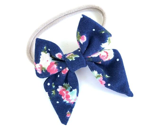 Floral baby headband - nylon headband, baby girl headband, baby headband bows, newborn headband, baby bows