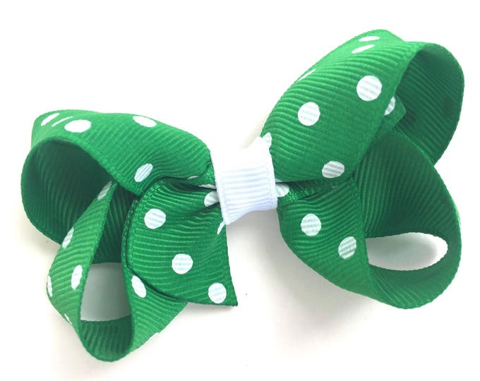 Green hair bow - hair bows for girls, baby bows, toddler hair bows, pigtail bows, 3 inch hair bows