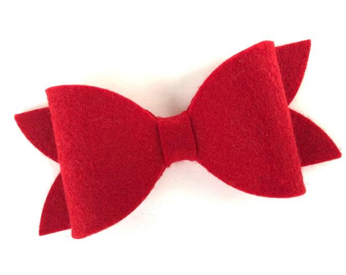 Red hair bow - felt hair bow, hair bows, bows for girls, baby bows, girls hair bows, toddler bows