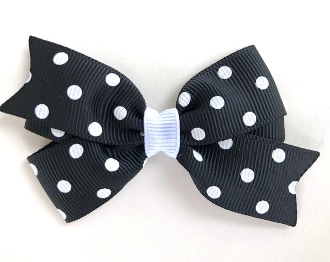 Black polka dot hair bow - hair bows, bows for girls, baby hair bows, toddler hair bows, 3 inch hair bows