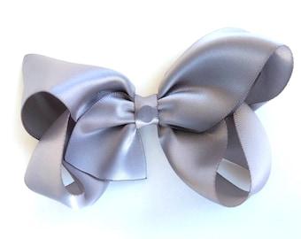 Satin hair bow - gray satin bow, satin bows, hair bows, bows for girls, baby bows, toddler hair bows, boutique bows, hairbows