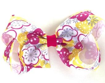 Floral bow - hair bows for girls, toddler hair bows, girls bows, 4 inch hair bows