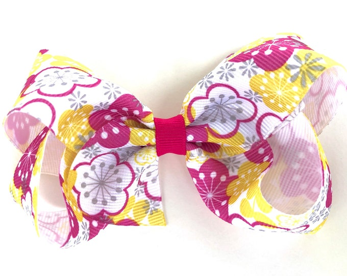 Floral bow - hair bows for girls, toddler hair bows, girls bows, 4 inch hair bows