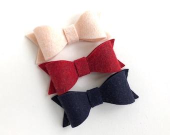 Set of 3 felt hair bows - felt bows, hair bows, bows for girls, hair clips for girls, baby bows, toddler hair bows