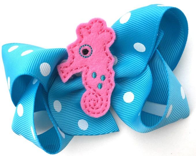 Seahorse hair bow - hair bows, bows for girls, toddler hair bows, boutique bows, 4 inch hair bows