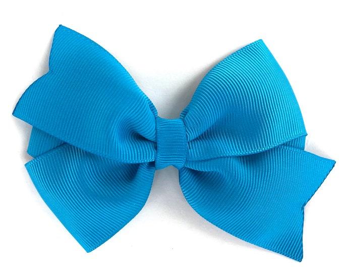 Island blue hair bow - hair bows, bows, hair clips, hair bows for girls, toddler bows, pigtail bows, girls bows, girls hair bows