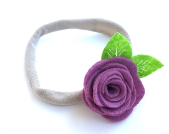 Purple baby headband - nylon headbands, baby girl headbands, flower headband, baby bows, baby headband bows
