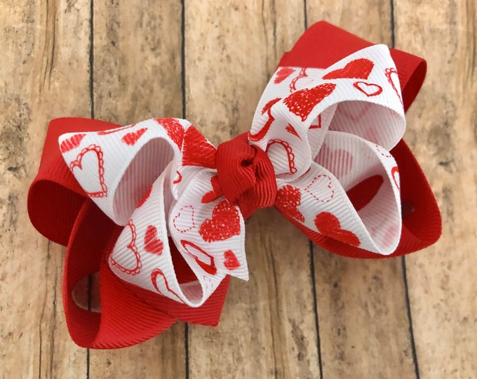 Valentine's Day hair bow - hair bows, toddler hair bows, boutique bows, 4 inch hair bows, big hair bows, girls bows