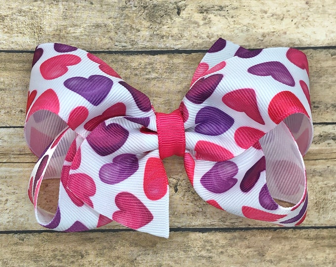 Valentine's Day - hair bows, bows for girls, baby bows, baby headband, girls bows, toddler bows, nylon headbands, 4 inch hair bows