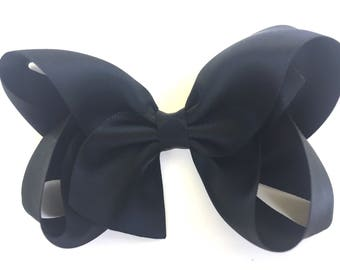 Black satin hair bow - satin hair bows, hair bows, bows for girls, satin bows, boutique bows, toddler bows