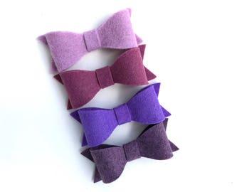 Set of 4 purple felt hair bows - felt bows, hair bows, bows for girls, hair clips for girls, baby bows, toddler hair bows
