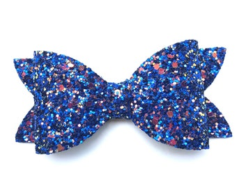 Blue glitter hair bow - hair bows, bows, hair bows for girls, baby bows, pigtail bows, toddler bows, girls hair bows, hairbows, hair clips