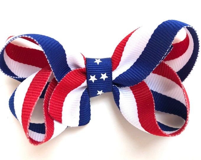 Fourth of July hair bow - bows for girls, baby bows, baby hair bows, hair clips, toddler bows, patriotic bows