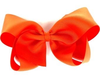 Extra large hair bow - 6 inch hair bows, hair bows, orange hair bow, cheer bows, big hair bows, girls hair bows, hairbows, toddler
