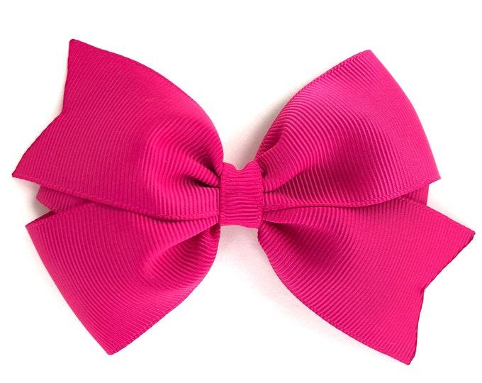 Fuchsia hair bow - hair bows, girls bows, toddler hair bow, 4 inch hair bows, pink hair bows