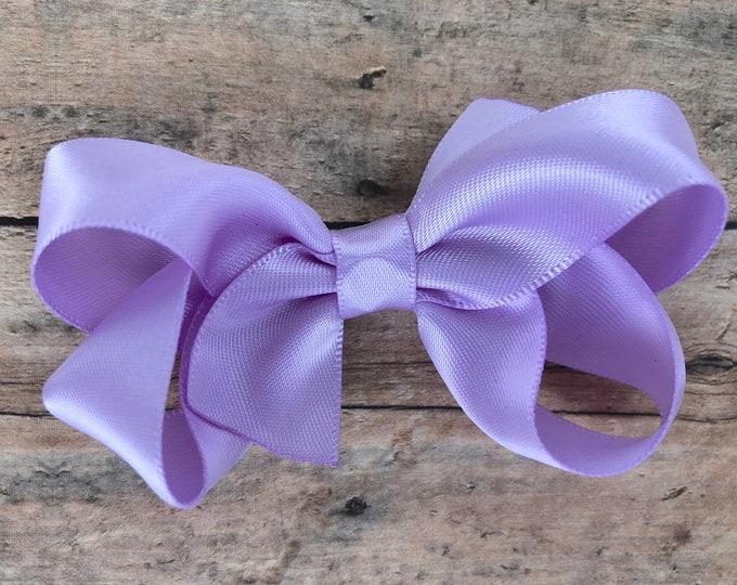 Satin hair bow - Light Purple hair bows, hair bow, bows, hair bows for girls, baby bows, toddler hair bows, girls hair bows, satin bows