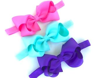 YOU PICK 3 baby headbands - baby headband bows, baby girl headbands, newborn headbands, baby headband set, baby bows