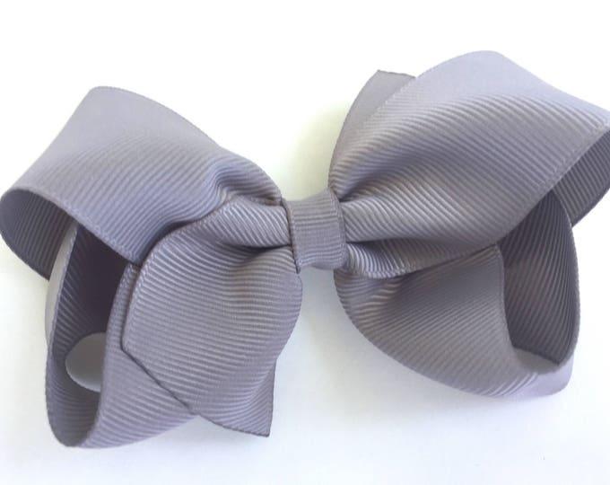 Gray hair bow - hair bows, bows for girls, baby bows, girls hair bows, toddler hair bows, boutique hair bows, hairbows, 4 inch