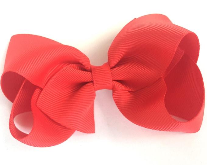 Poppy red hair bow - hair bows, bows for girls, hair clips, girls hair bows, baby bows, toddler hair bows, 4 inch hair bows