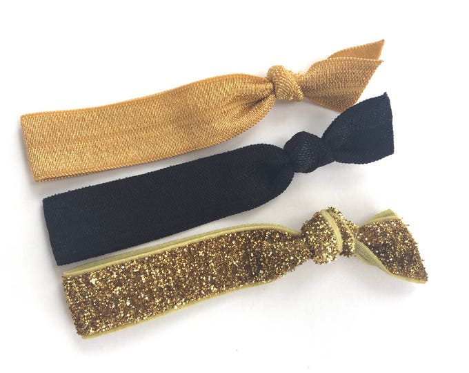 Set of 3 elastic hair ties - hair ties, ponytail holders, no crease hair ties, gold hair ties