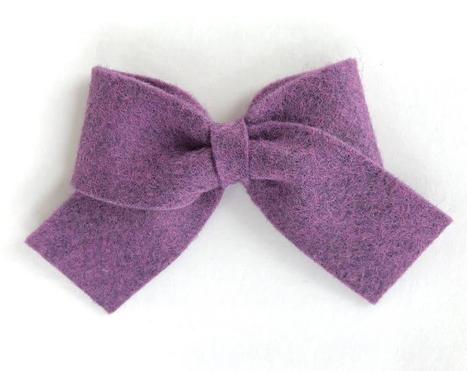 Felt hair bow - purple bows, felt bow, hair bows, bows for girls, sailor bows, felt hair bows, baby bows, toddler hair bows