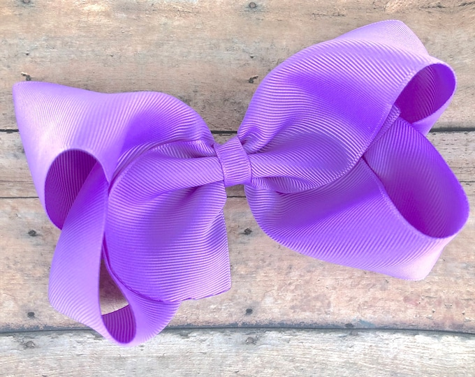 Large hair bow - 6 inch hair bows, lavender bow, hair bows, cheer bows, big hair bows, girls hair bows