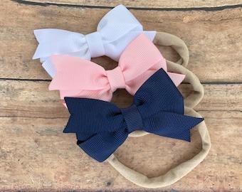 YOU PICK 3 baby headbands -  baby headband bows, nylon headbands, newborn headbands, baby girl headbands, baby bows