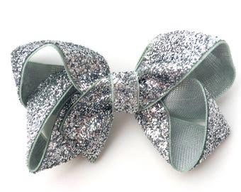 Silver hair bow - hair bows for girls, baby bows, pigtail bows, toddler hair bows, boutique hair bows, 3 inch hair bows