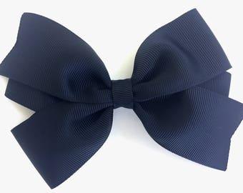 5 inch hair bow - black hair bow, hair bows, bows for girls, big hair bows, girls hair bows, cheer bows, toddler bows