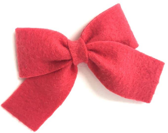 Light red hair bow - felt bows, hair bows, bows for girls, toddler hair bows, felt hair bows, 3 inch hair bows