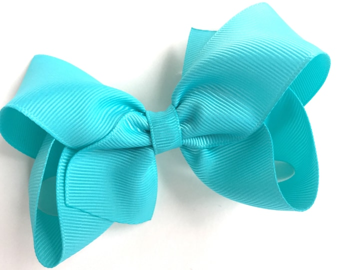 Turquoise hair bow - bows for girls, hair bows for girls, baby bows, toddler bows, boutique bows, big hair bows, girls hair bows
