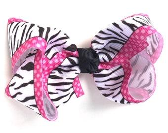 Zebra hair bow - hair bow, hair bows, bows, hair bows for girls, toddler hair bows, baby bows, girls bows, hair clips, hairbows, zebra bows