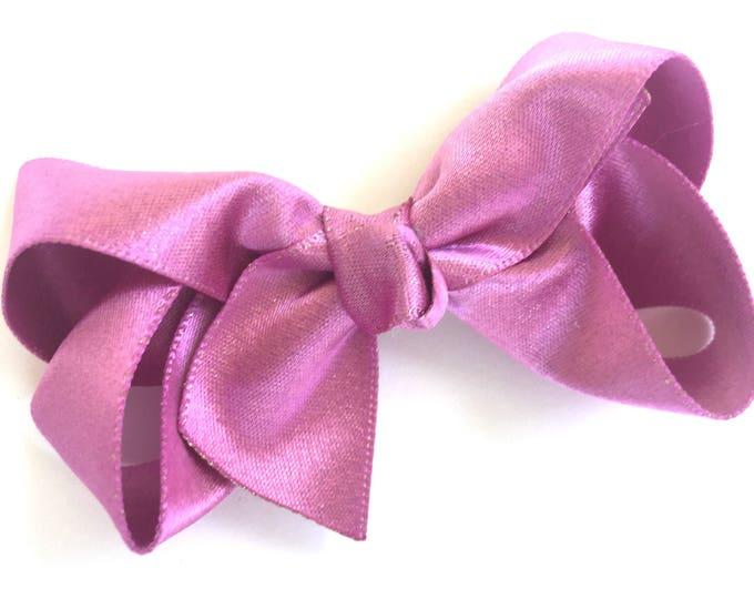 Pink gold hair bow - hair bows, bows, hair clips, satin bows, hair bows for girls, baby bows, baby hair bows, hair clips for girls, toddler