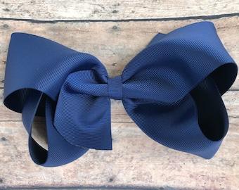 Extra large hair bow - 6 inch hair bows, hair bows, navy blue hair bow, cheer bows, big hair bows, girls hair bows, hairbows, toddler