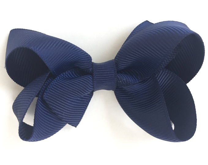 Navy blue hair bow - navy blue bow, hair bows, hair bows for girls, girls bows, baby bows, toddler bows, pigtail bows