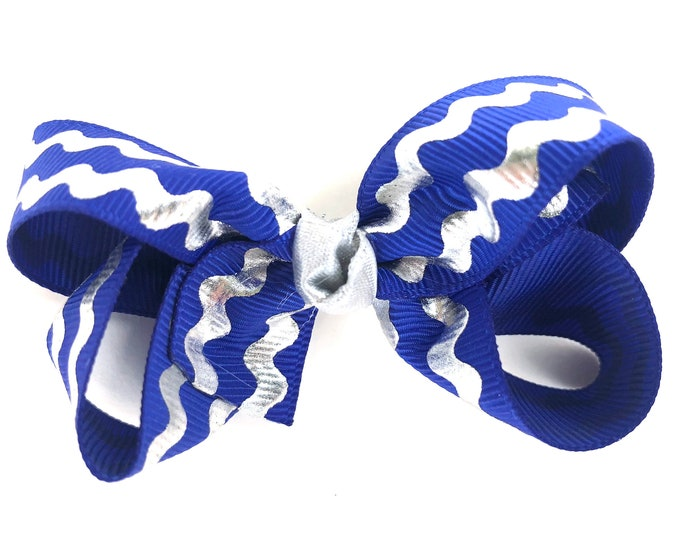 Blue and silver hair bow - hair bows for girls, baby bows, toddler hair bows, boutique bows, 3 inch hair bows