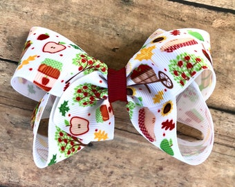 Fall Hair bow - hair bows, bows for girls, baby bows, girls hair bows, toddler bows, 4 inch hair bows