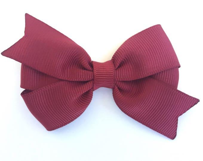 Maroon hair bow - hair bows, bows, hair bows for girls, baby bows, pigtail bows, baby hair bows, toddler hair bows, hair clips, baby girl