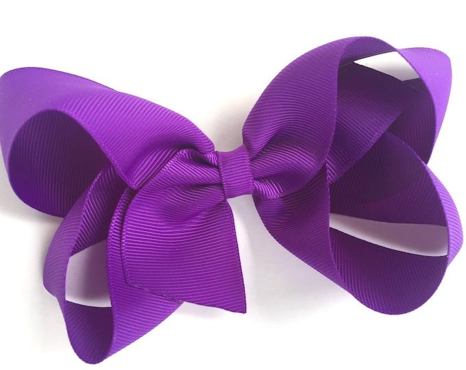 5 inch hair bow - purple bows, hair bows, girls bows, toddler hair bows, big hair bows, boutique bows