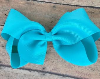 Large hair bow - 6 inch hair bows, turquoise hair bow, cheer bows, big hair bows, hair bows for girls