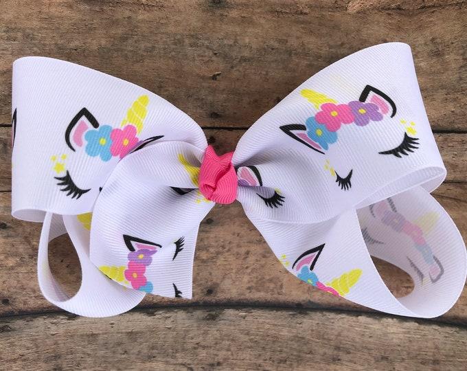 Unicorn hair bow - 6 inch hair bows, hair bows, hair bow, bows, cheer bows, big hair bows, unicorn bows, girls hair bows, hairbows