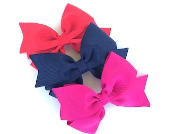 PICK 3 hair bows - bows, hair bows for girls, hair clips, baby bows, girls bows, toddler hair bows, hairbows, 4 inch hair bows