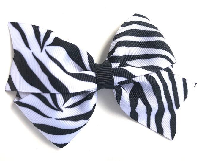 Girls hair bow - zebra print hair bow, toddler bows, girls bows, 4 inch hair bows, big bows